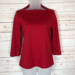 Kate Spade Red 3/4  Sleeve Top Size XS